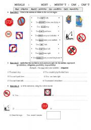 English Worksheet: Modals  can can´t  must mustn´t