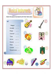 English Worksheet: Musical Instruments Match - Part 1