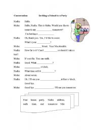 English worksheet: Inviting a friend to a party