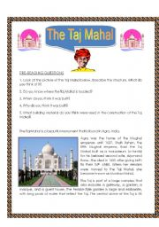 English Worksheet: The Taj Mahal - Rading Comprehension