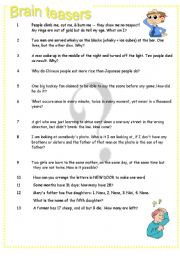 English Worksheet: Brain teasers Part 4