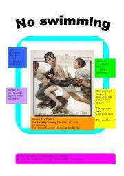 English Worksheet: NO SWIMMING