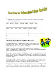 English Worksheets: The Cure for Exhaustion? More exercise