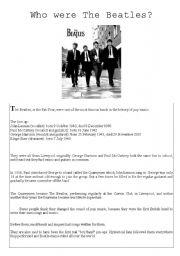 English Worksheets: Who were the Beatles?
