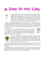 English Worksheets: A day in my life