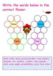 English Worksheet: Family flowers