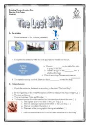 English Worksheets: reading comprehension - The lost ship