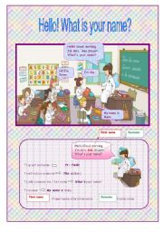 English Worksheet: Hello! What´s your name?