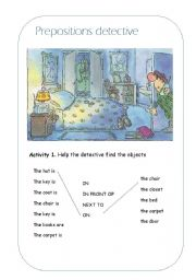 English Worksheets: Prepositions detective