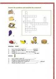 English Worksheets: Food crosswords