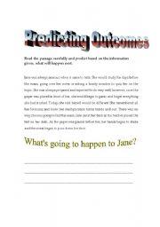 English Worksheets: Predicting Outcomes