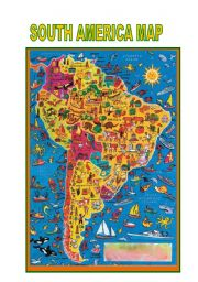 English Worksheet: South America Map