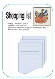 English Worksheet: Do a shopping list