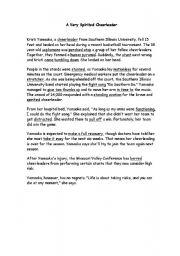 English Worksheets: A very spirited Cheerleader