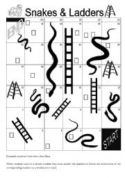 English Worksheet: Snakes and Ladders Game Board - for ANY grammar point