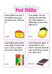English Worksheet: Food Riddles