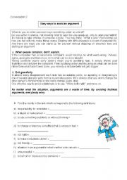 english worksheets easy ways to avoid an argument student s. Black Bedroom Furniture Sets. Home Design Ideas