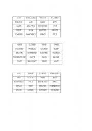 English worksheet: Regular/irregular verbs bingo