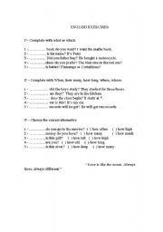 English worksheet: Interrogative pronouns
