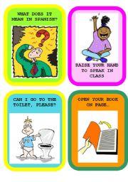 English Worksheet: CLASSROOM LANGUAGE FLASHCARDS SET 1