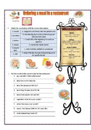 English Worksheet: Ordering a meal in a restaurant