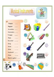 English Worksheet: Musical Instrument Part-3