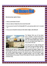 English Worksheets: The Western Wall - Reading Comprehension