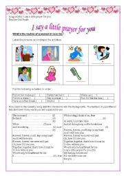 English Worksheet: song: I say a little prayer for you