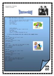 English Worksheets: song : Yesterday - Beatles