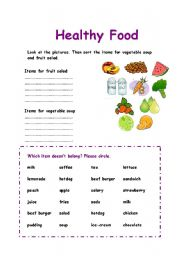 Healthy Food sorting exercise