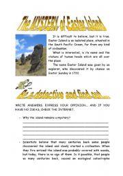 English Worksheet: EASTER ISLAND MYSTERY