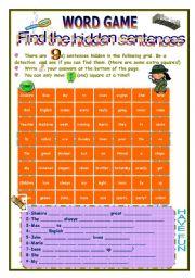 English Worksheets: HIDDEN SENTENCES
