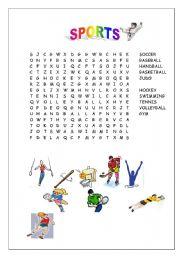 English Worksheet: sports wordsearch