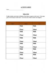 English Worksheets: sink or float