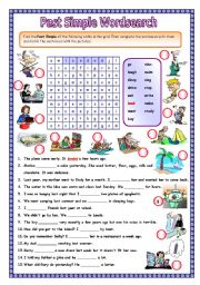 English Worksheets: Past simple wordsearch