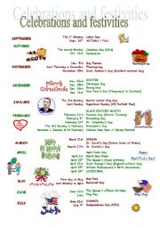 English Worksheet: Celebrations and festivities