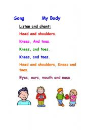 English worksheet: Song     My body