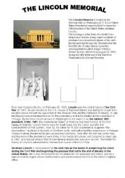 English Worksheets: THE LINCOLN MEMORIAL