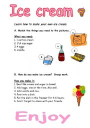 English Worksheet: Learn how to make your own ice cream