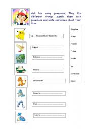 English Worksheet: Pokemon
