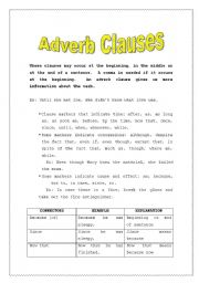 Printables Adverb Clause Worksheet english teaching worksheets clauses adverb clauses