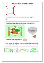 English Worksheets: Right Angle Worksheet