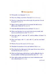 English Worksheets: Trivial  Questions (With Answers) - Part II