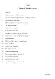 English worksheet: Plurals/ Correct the following sentences
