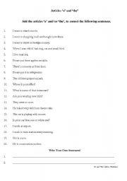 English worksheet: Articles