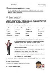 English Worksheet: Mr. Bean - The school exam (Teacher�s)