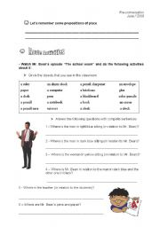 English Worksheets: Mr. Bean - The school exam (Student�s)