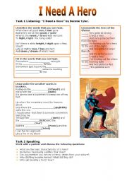 English Worksheet: I Need A Hero
