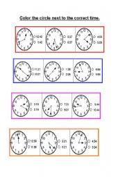 color the circle next to the correct time esl worksheet. Black Bedroom Furniture Sets. Home Design Ideas