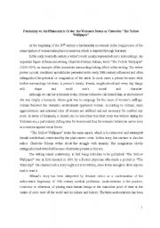 English Worksheets: Femininity vs. the Phalocentric Order: the Woman�s Status as Viewed in �The Yellow Wallpaper�